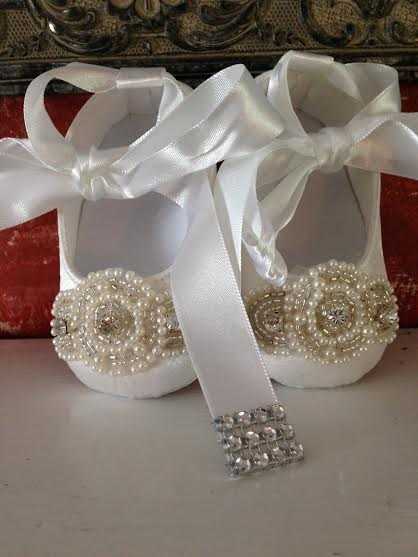 0a835755aa51a Couture Baby Christening Baptism White Ivory Satin Ankle Tie Bling Baby  Shoe Pearls Crystals Wedding Baby Shoe